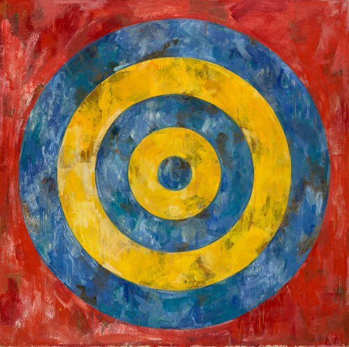 Jasper Johns, Target, 1961. Encaustic and collage on canvas. 167.6 x 167.6 cm. The Art Institute of Chicago Art © Jasper Johns/Licensed by VAGA, New York, NY. Photo: © 2017. The Art Institute of Chicago / Art Resource, NY / Scala, Florence