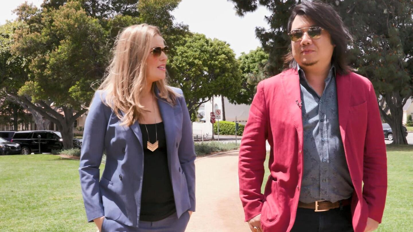 """Kate Sullivan taking a stroll and chatting with Kevin Kwan in """"To Dine for with Kate Sullivan."""""""
