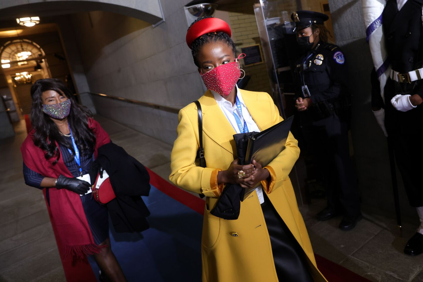 National youth poet laureate Amanda Gorman arrives at the inauguration of US President-elect Joe Biden on the West Front of the US Capitol on January 20, 2021 in Washington, DC.