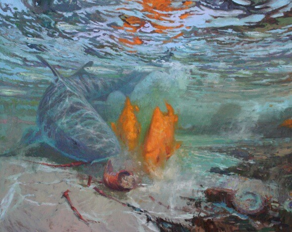 'The Shallows' - Leopard Shark with Garibaldi and Topsmelt, oil on<br /> mounted canvas by David Gallup, 2012. Currently on view June 9th to August 19th, 2012<br />
