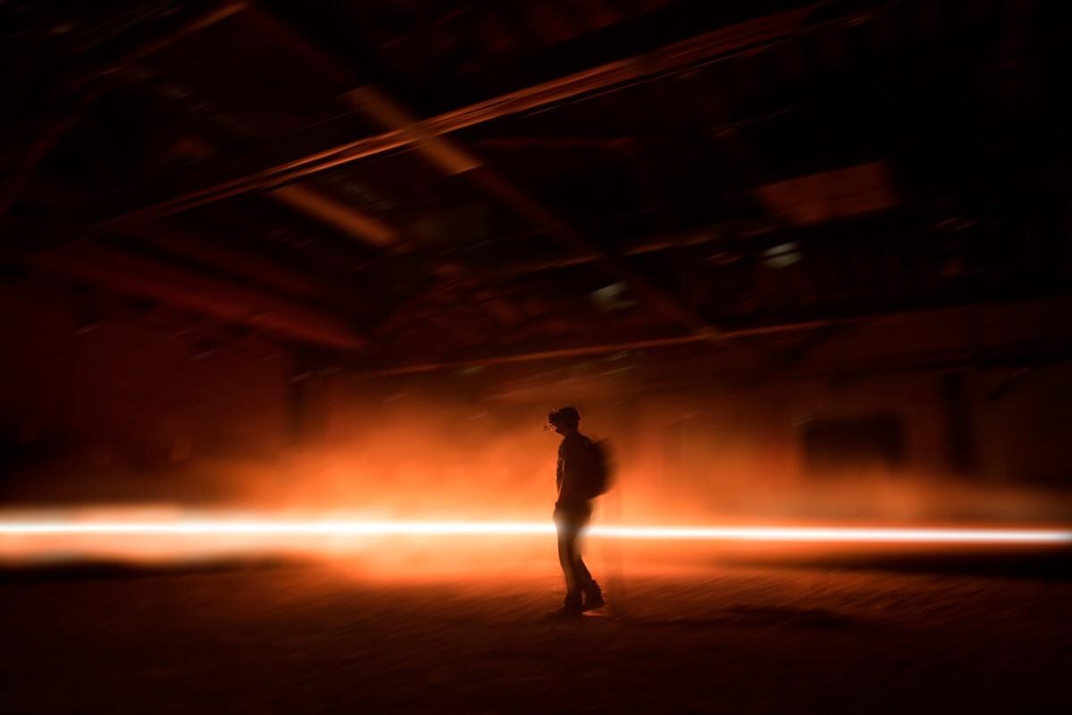 User experiencing the art installation. Photo credit: Emmanuel Lubezki