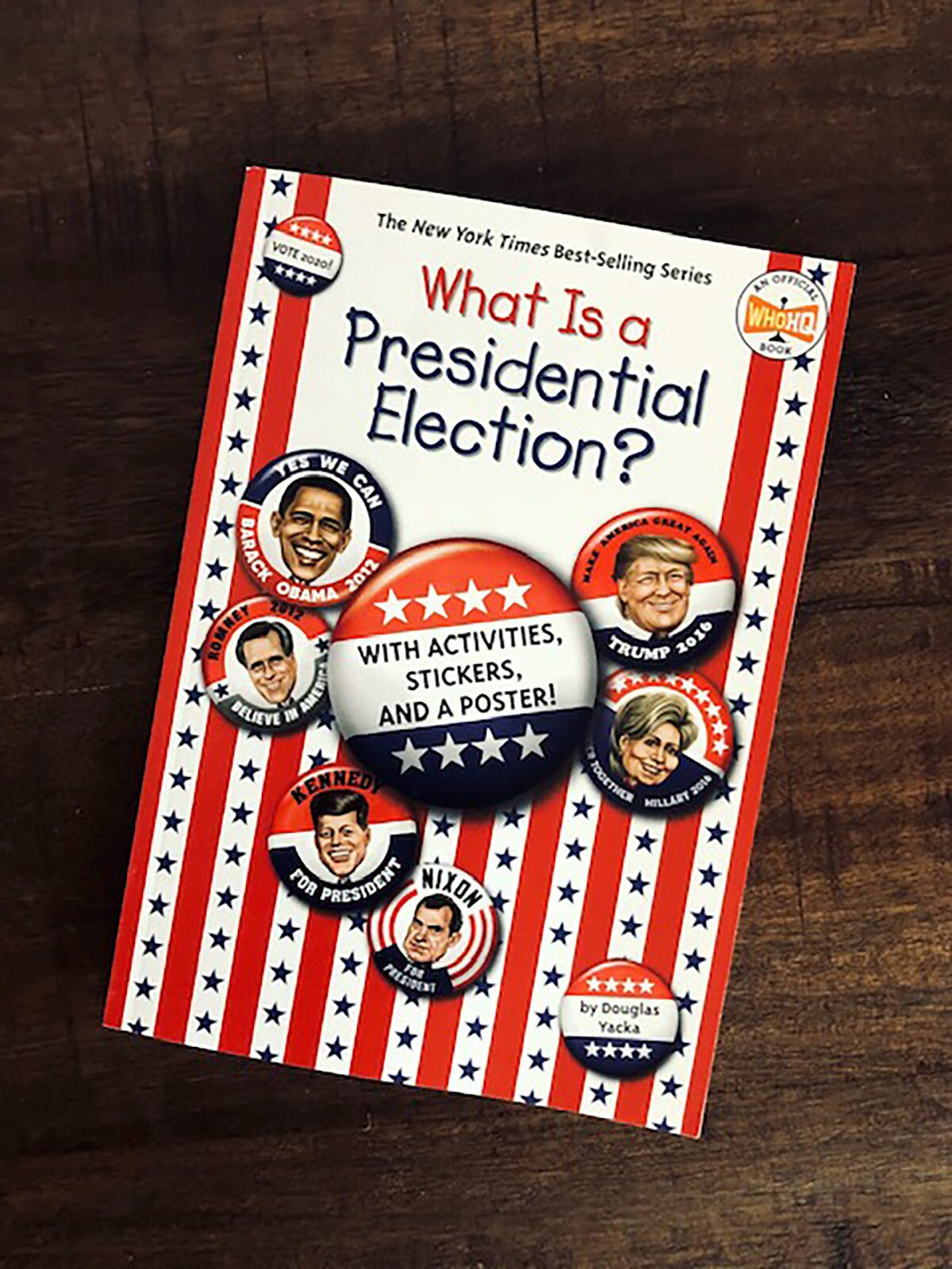 "Book cover of ""What Is A Presidential Election?"" featuring caricatures of US president faces on buttons."