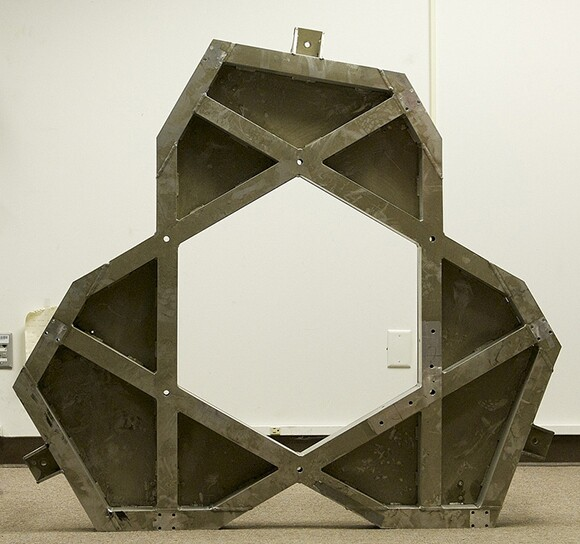 The original Mars Rover base plate, which Goods repurposed into a base for a glass table.   Courtesy of Dan Goods.