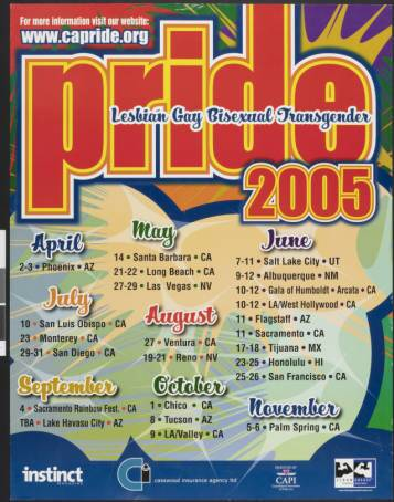 Lesbian gay bisexual transgender pride 2005 poster. | Consolidated Association of Pride, Inc., ONE National Gay and Lesbian Archives, USC Libraries