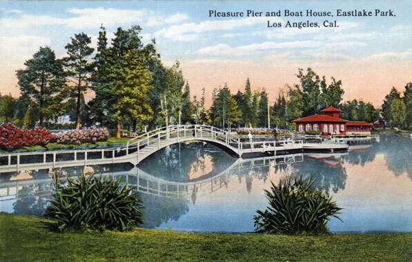 Eastlake Park's pleasure pier and boat house, circa 1915. Courtesy of the Werner Von Boltenstern Postcard Collection, Department of Archives and Special Collections, Loyola Marymount University Library.