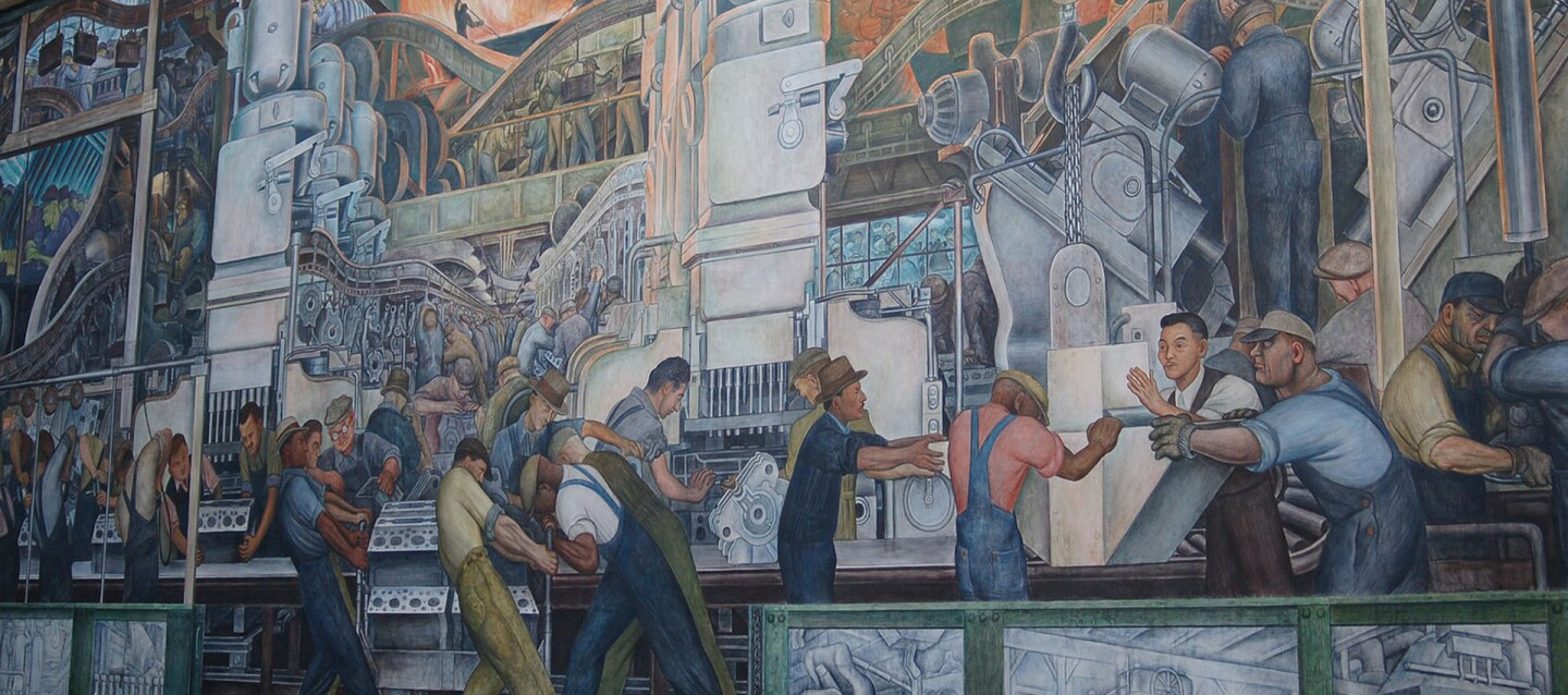 """A portion of the """"Detroit Industry"""" murals by Diego Rivera that adorn the walls of Rivera Court at the Detroit Institute of Arts 