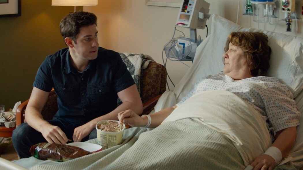 "John Krasinski and Margo Martindale in ""The Hollars."""