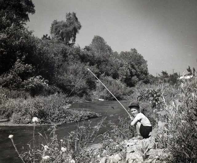 Arthur Langdon on the Los Angeles River, ca 1940s.