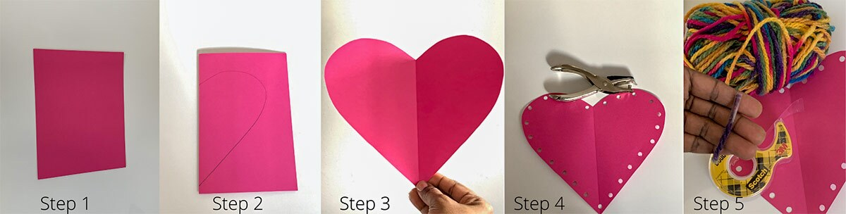 images show the steps needed to create a pink paper heart