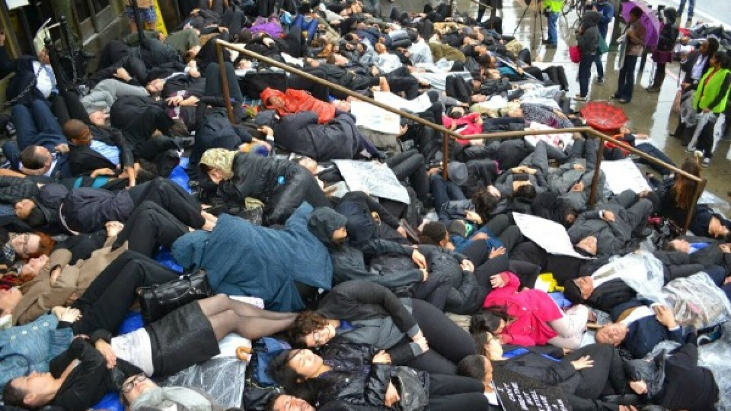 Lawyers perform a die-in on the steps of the Stanley Mosk Courthouse in downtown Los Angeles.   Photo: Courtesy Josh Kamensky