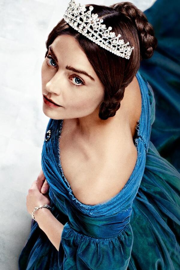 "A shot from overhead of Jenna Coleman as Queen Victoria in ""Victoria on Masterpiece."""