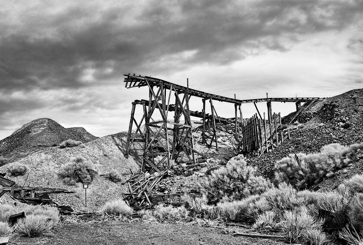 Remains of the Minecart Trestle - Infrared Exposure - Cerro Gordo, CA - 2012  | Osceola Refetoff
