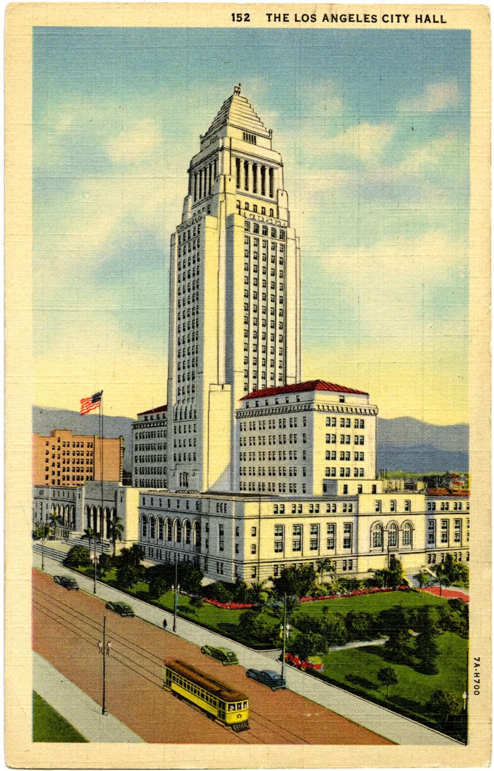 Postcard of Los Angeles City Hall, circa 1938