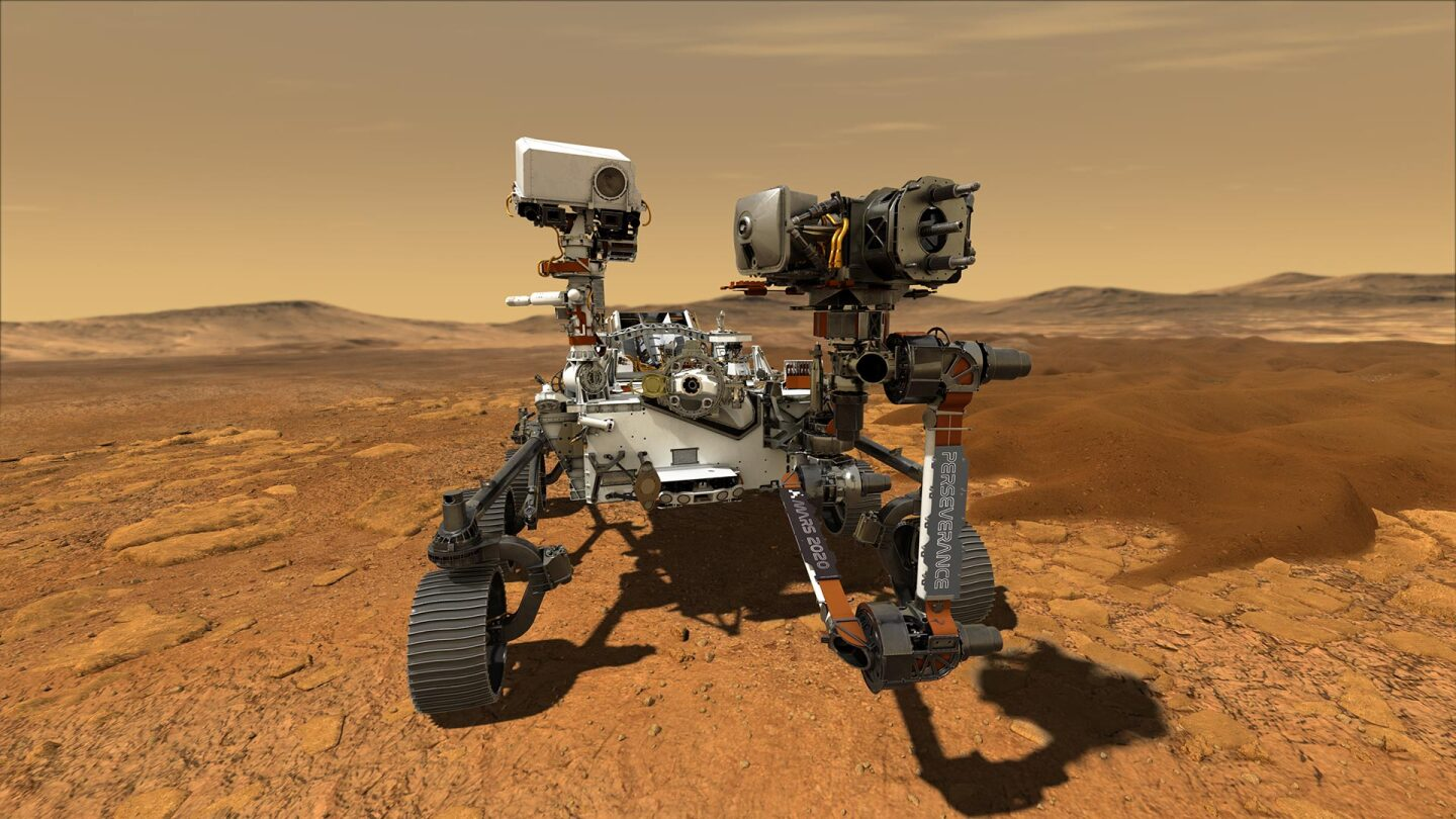 This illustration depicts NASA's Perseverance rover operating on the surface of Mars. Perseverance will land at the Red Planet's Jezero Crater a little after 3:40 p.m. EST (12:40 p.m. PST) on Feb. 18, 2021.