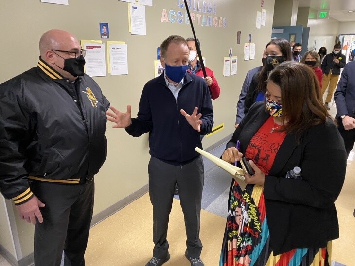 L.A. Unified School District Superintendent Austin Beutner (center), United Teachers Los Angeles president Cecily Myart-Cruz (right) and Panorama High School principal Joe Nardulli lead reporters on a school tour to show off safety preparations made to welcome students back in the spring.