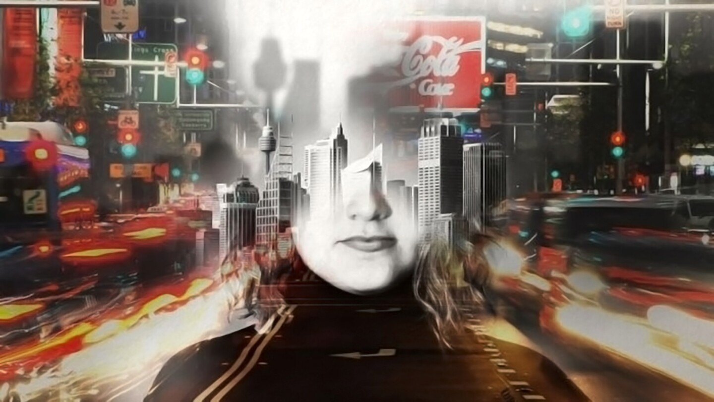 "Graphic of a girl's face fading into a busy cityscape. | Still from ""Four Corners"" episode ""I Am That Girl"""