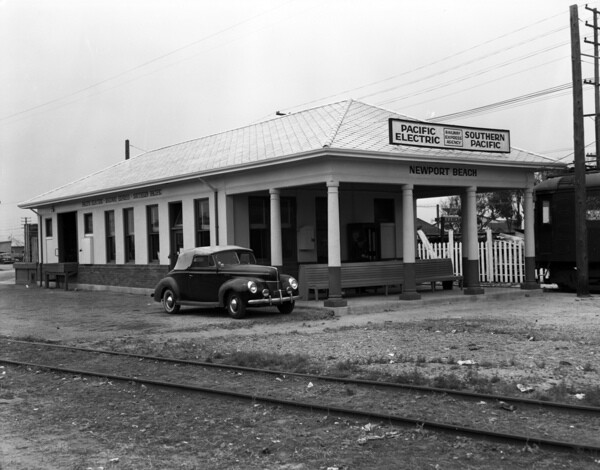 The Pacific Electric's Newport Beach depot. The railroad's arrival in 1906 spurred the three towns of Balboa, Newport Beach, and East Newport to incorporate as the City of Newport Beach in 1906. Courtesy of the Orange County Archives.