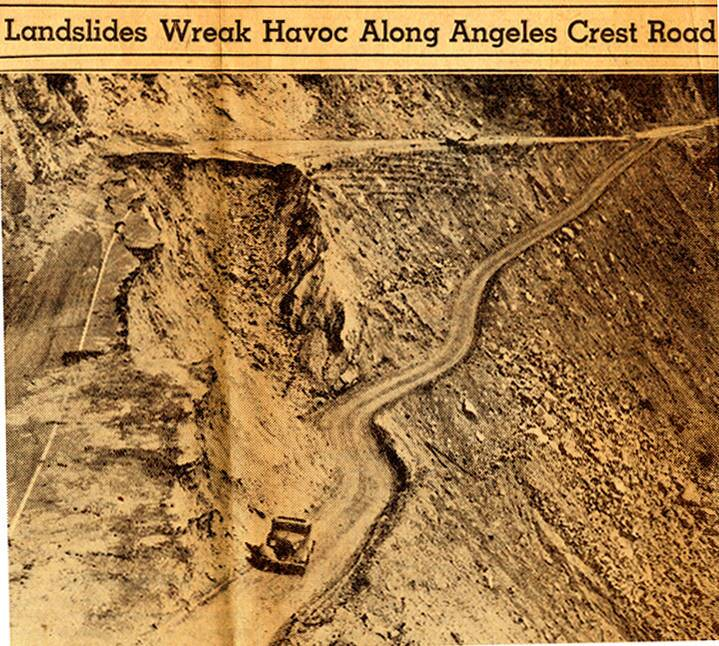 Landslide along the Angeles Crest Highway