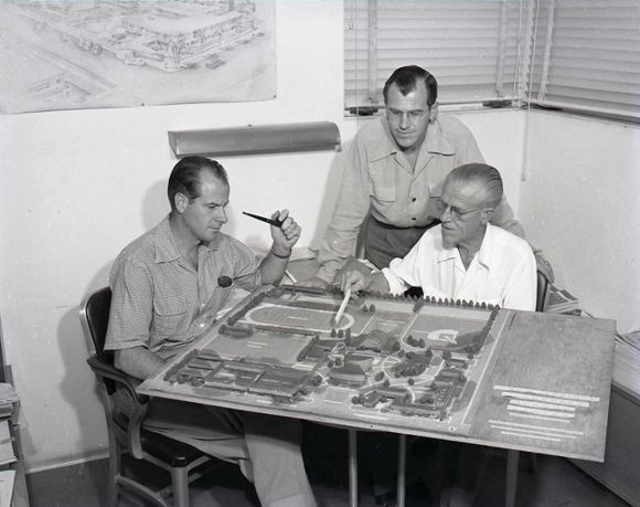 Architects Stewart, Roger and Harry Williams with model of the 1949 Palm Springs High School Master Plan. | Photo: The Willows Historic Inn archive.