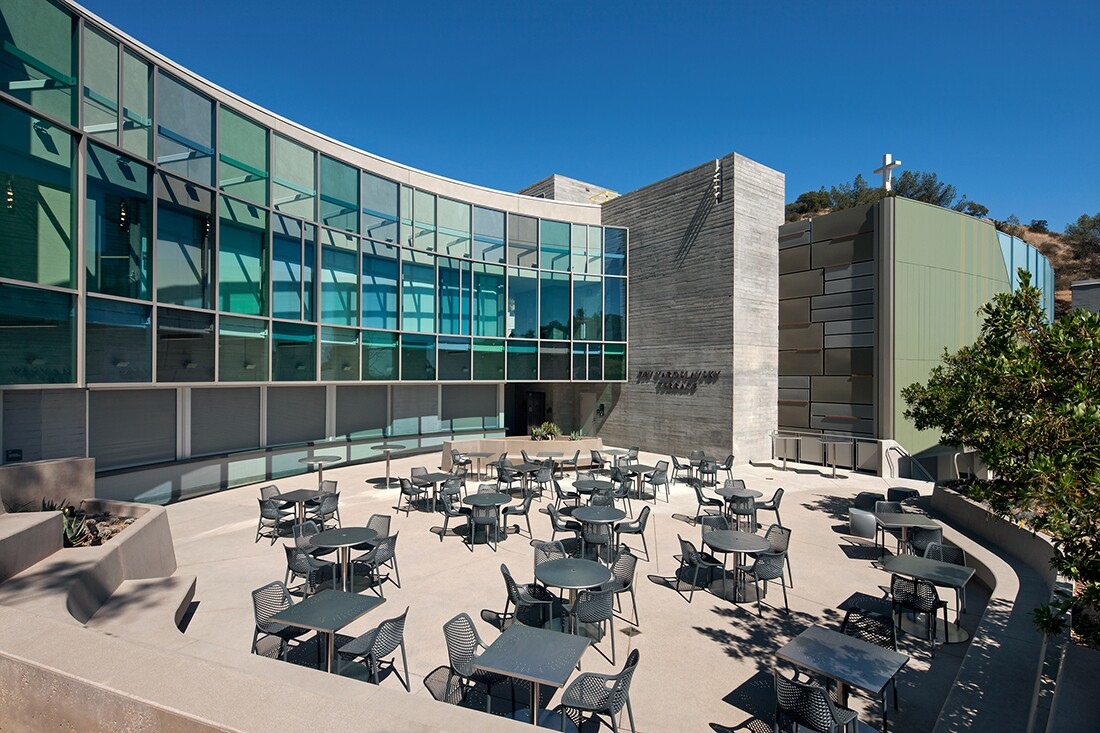 """The Zev"" Picnic Terrace and the Ford Terrace Café with offices for Ford staff on the third floor 