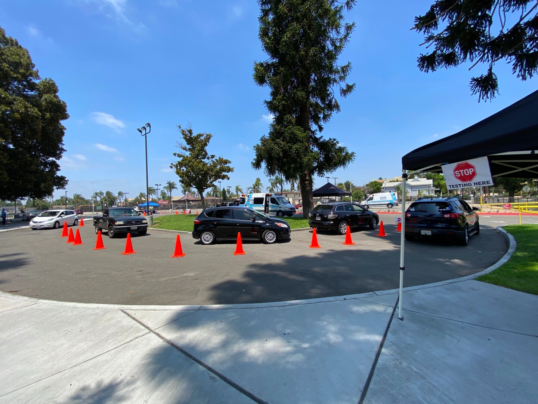 A line at a coronavirus testing clinic in Santa Ana