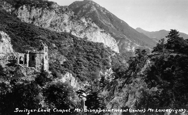 Exterior view of the Switzer-Land Chapel below Mount Disappointment near Mount Lowe, 1926 | Digitally reproduced by the USC Digital Library; From the California Historical Society Collection at the University of Southern California