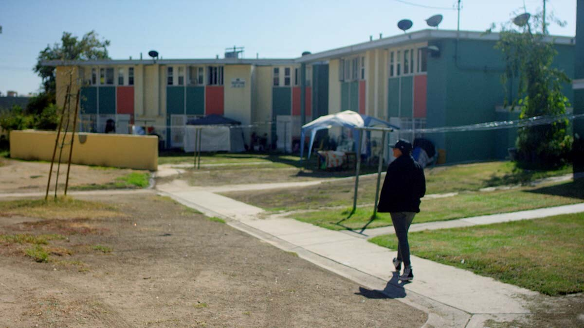 """Mar Diego visits San Fernando Gardens, otherwise known as Pacoima projects 