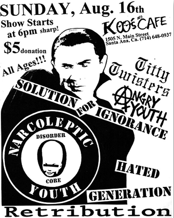 Narcoleptic Youth flyer, Koo's Cafe, 1998, by Joey Bondage. | Courtesy of <a href='http://www.gigposters.com/poster/1295_Titty_Twisters.html'>Gig Posters</a>.