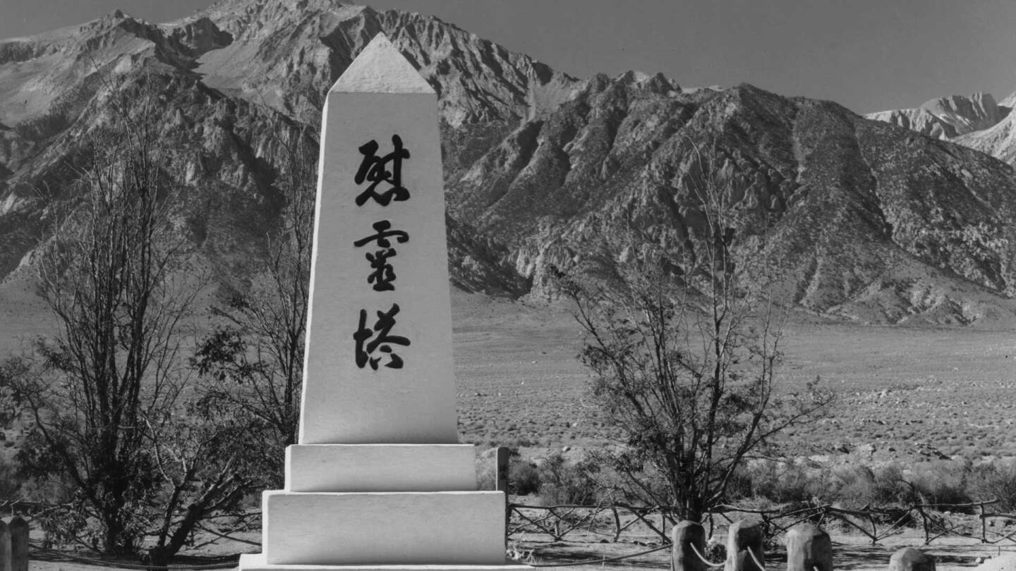 A Monument in the Cemetery at Manzanar Relocation Center | Ansel Adams, Courtesy of the Library of Congress Prints and Photographs Division