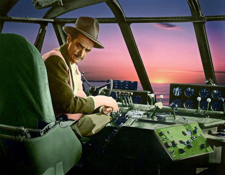Howard Hughes painted photograph by Harry B. Chandler. | Photo: Courtesy of the artist.