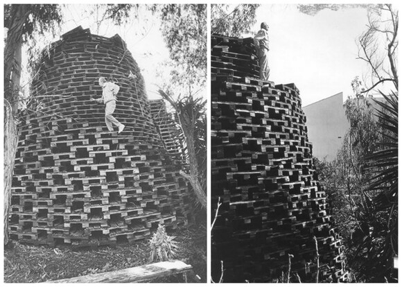 Daniel Van Meter on his Tower of Pallets, n.d. | Image courtesy of Angel City Press and CSUN.