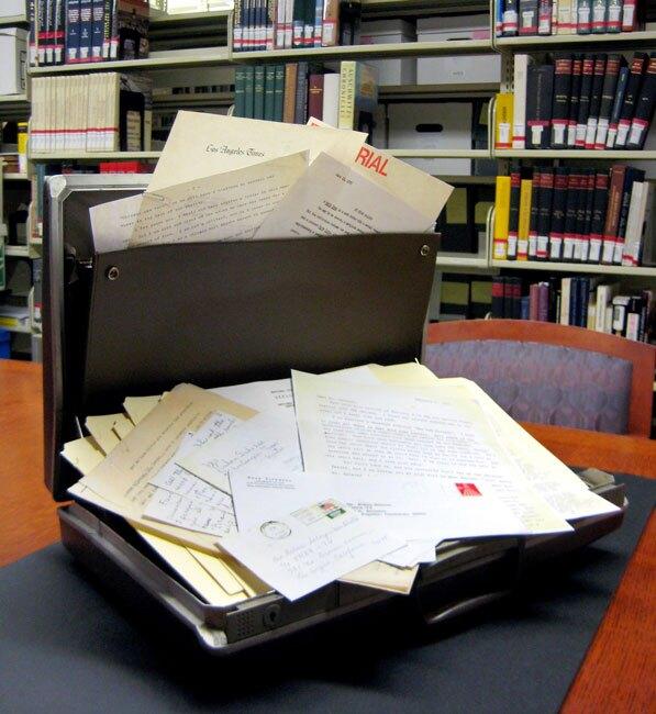 Rubén Salazar's briefcase, part of the USC Libraries' Rubén Salazar Papers Collection. Photo by Rachelle Balinas Smith.