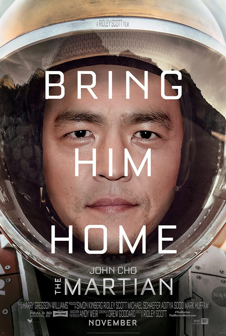 """Close up of the face of an Asian American man wearing a space suit with the words """"Bring Him Home"""" on top."""
