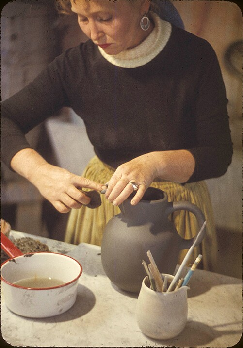 Edith Heath making a water jug | Courtesy of the Environmental Design Archives at UC Berkeley