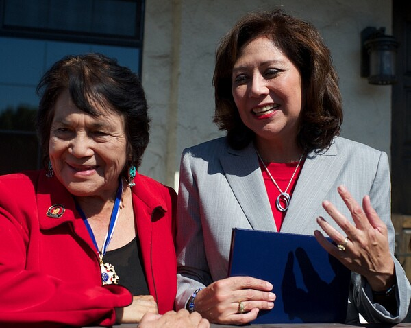 Dolores Huerta and Secretary of Labor Hilda Solis   Photo by Robert Garcia/The City Project
