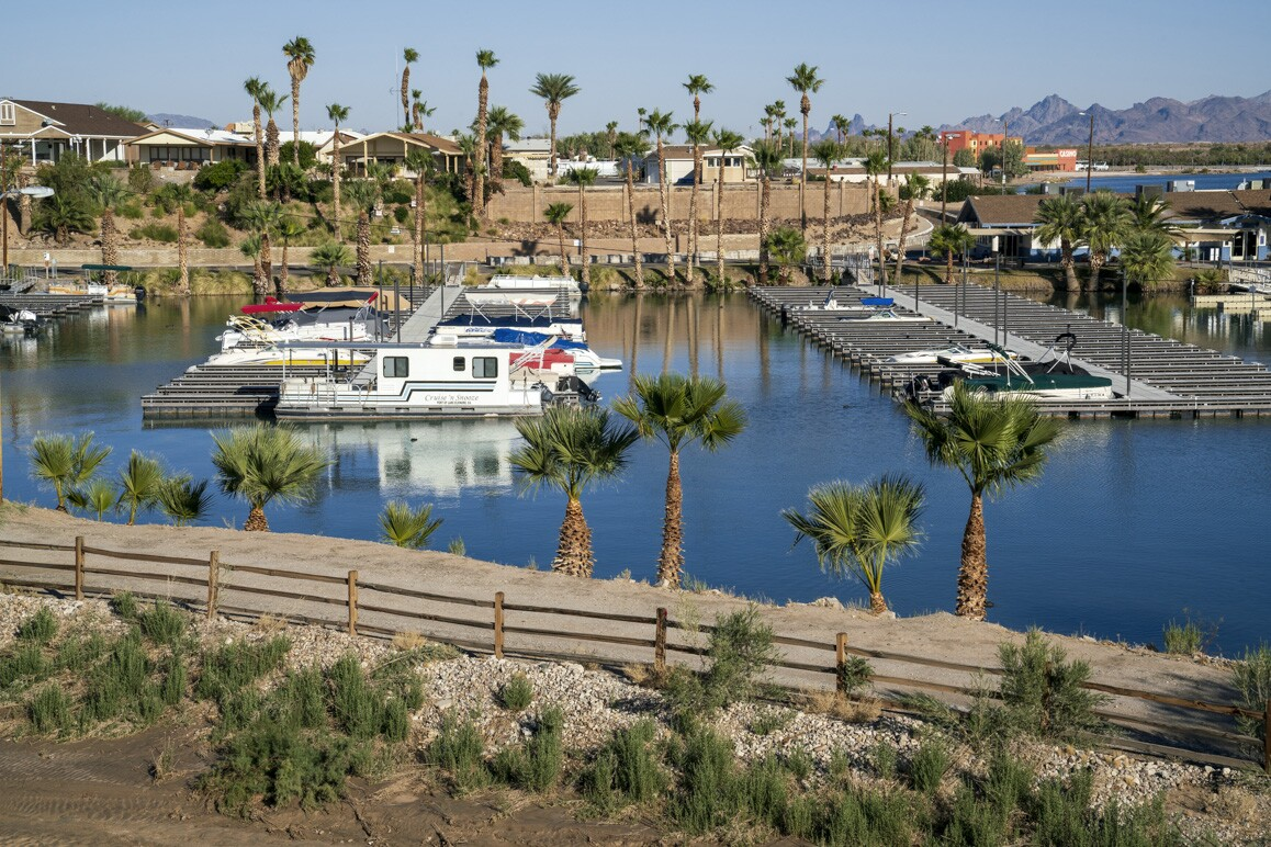 Havasu Landing Marina with the newly opened Chemehuevi-operated casino shown in the upper-right corner of the image. Photo: Kim Stringfellow.