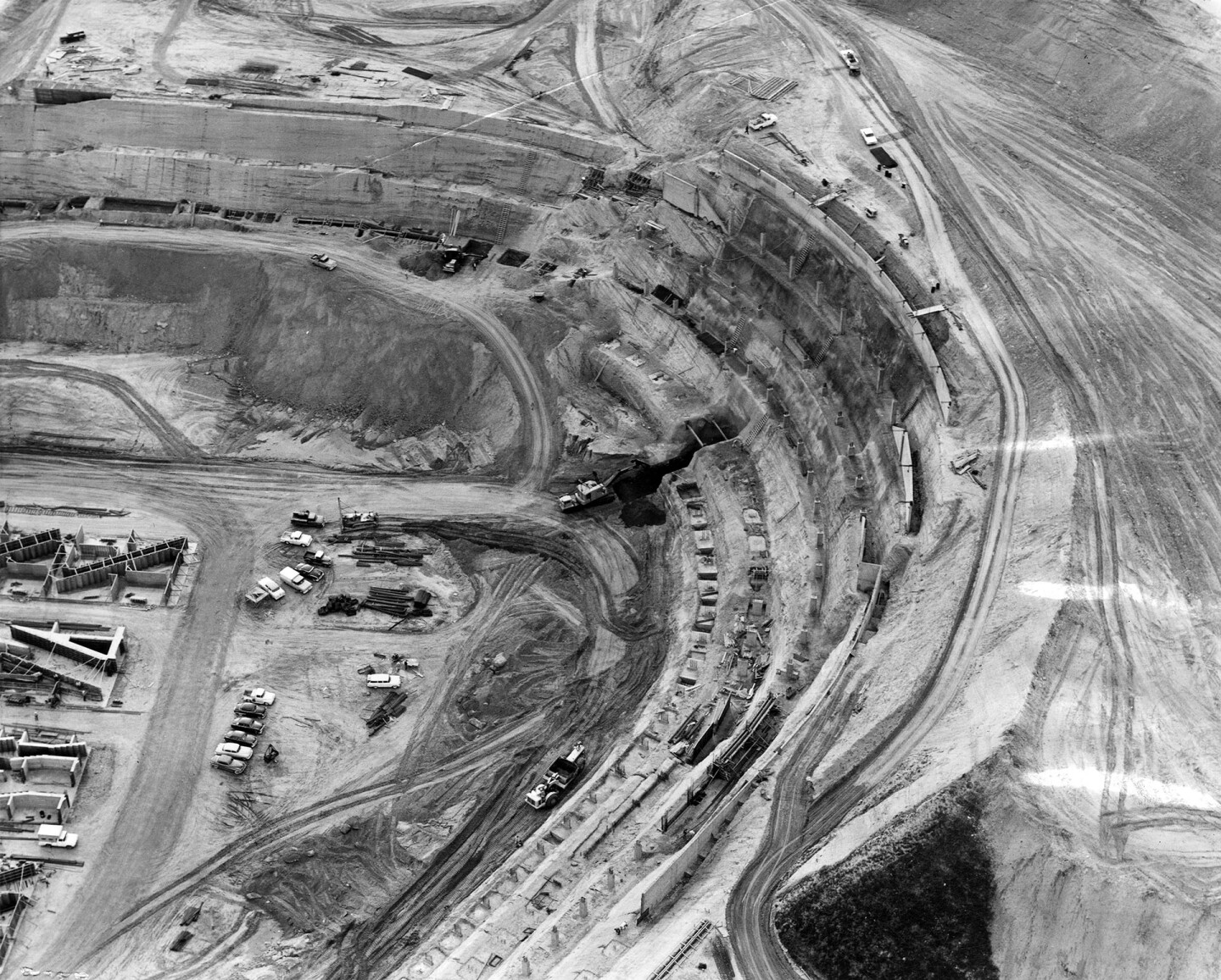 A closer 1961 aerial view of the stadium under construction. Courtesy of the Photo Collection - Los Angeles Public Library.