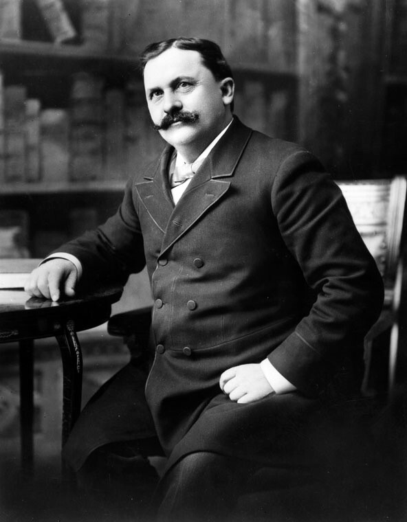 Undated photo of Griffith J. Griffith with his signature handlebar mustache. Courtesy of the Photo Collection, Los Angeles Public Library.