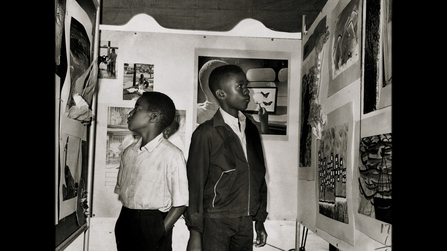 """Two young African American boys look at art 