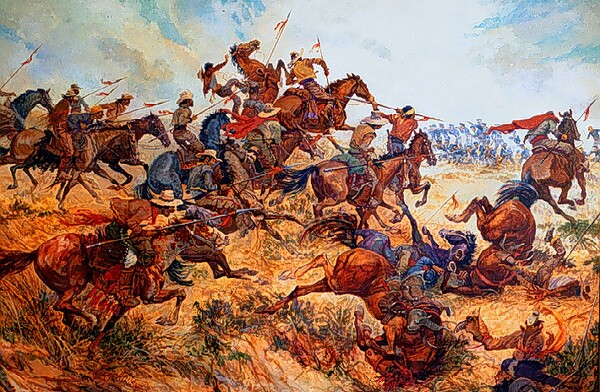 Battle of San Pasqual by Colonel Charles Woodhouse. Courtesy of USMC Command Museum