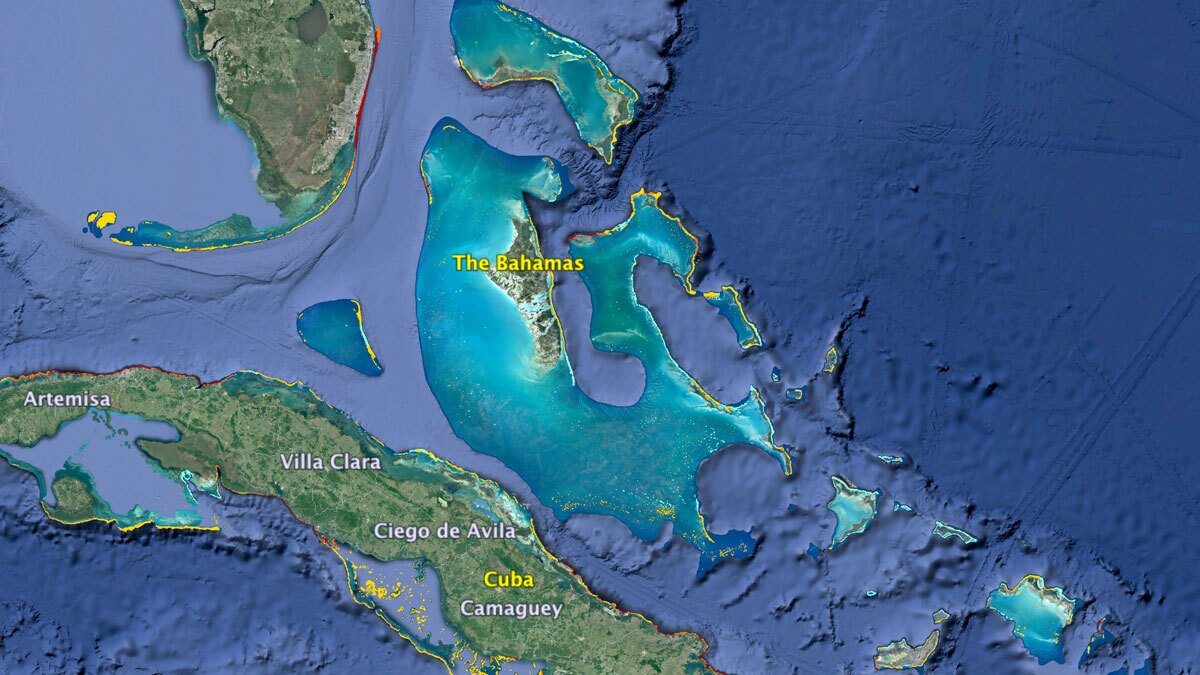 Reefs in Florida, the Bahamas, and the Northern Caribbean | Map: KCET/Google Earth/WRI