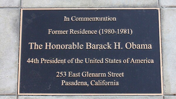 A plaque is seen in front of the Pasadena residence where Barack Obama lived during his sophomore year at Occidental College | Photo by John Antczak/Associated Press