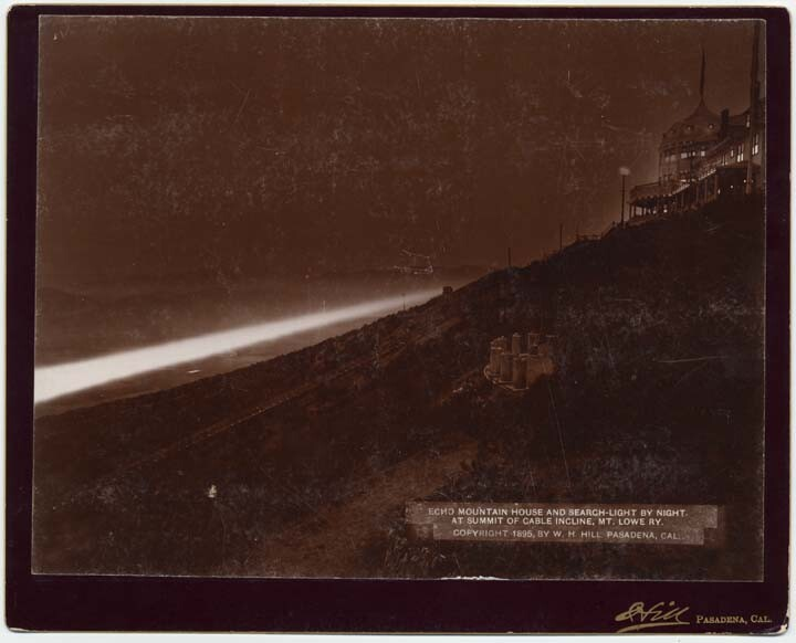 The Echo Mountain searchlight at night, in use
