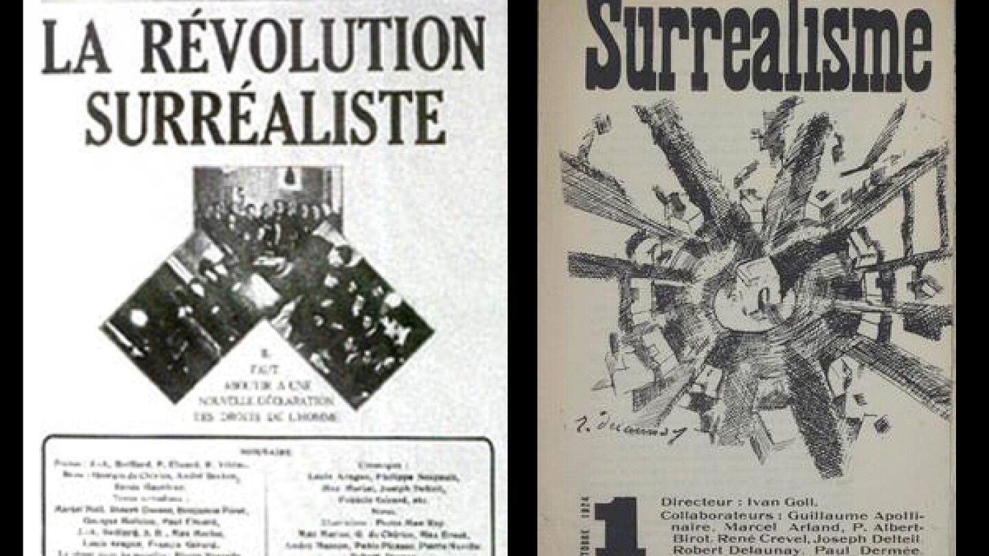 "Left: Cover of the first issue of La Révolution surréaliste, December 1924. (Right: Yvan Goll, Surréalisme, ""Manifeste du surréalisme,""[10] Volume 1, Number 1, October 1, 1924, cover by Robert Delaunay 