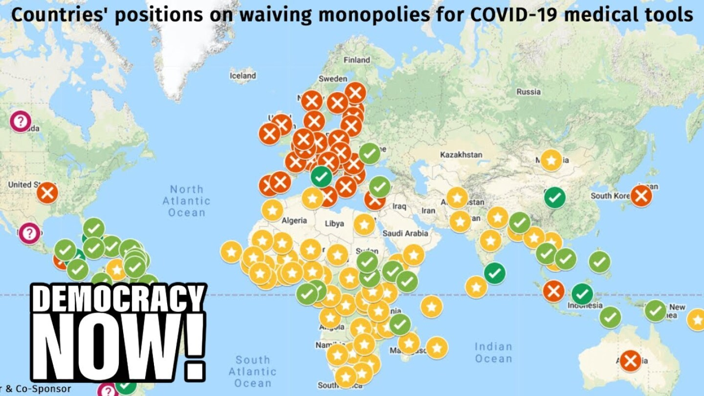 A map of countries' positions on waiving monopolies for COVID-19 medical tools.