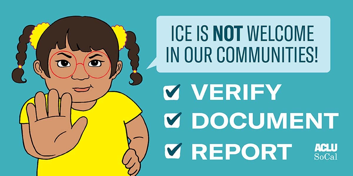 """A drawing of a child holding her hand up saying """"ICE is not welcome in our communities."""" 