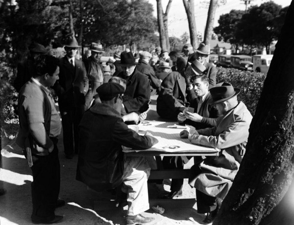 Pinochle was the game of choice for many parkgoers in the 1930s. Courtesy of the Photo Collection - Los Angeles Public Library.