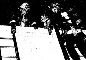 Firemen rescue a child and an elderly woman from the Hotel Californian | Image from L.A. Times article dated June 17, 1981