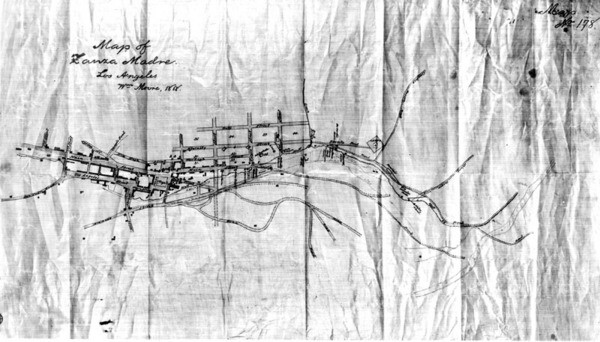 Map of Zanja Madre in Los Angeles, 1888   Courtesy of the Los Angeles Public Library