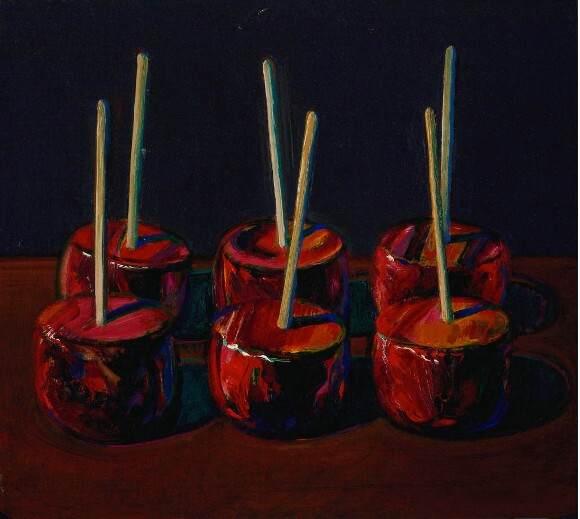 "Wayne Thiebaud, ""Dark Candy Apples,"" 1983, oil on wood, 11 5/8 x 13 in. © Wayne Thiebaud / Licensed by VAGA, New York."